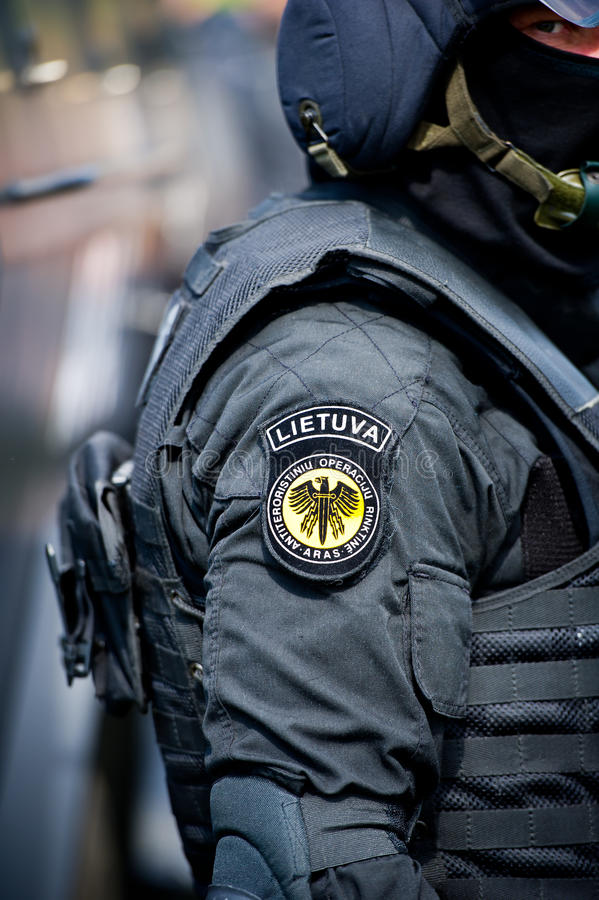 Lithuanian Police Anti-terrorist Operations Unit ARAS officer. VILNIUS, LITHUANIA - MAY 17: Lithuanian Police Anti-terrorist Operations Unit ARAS officer during royalty free stock images