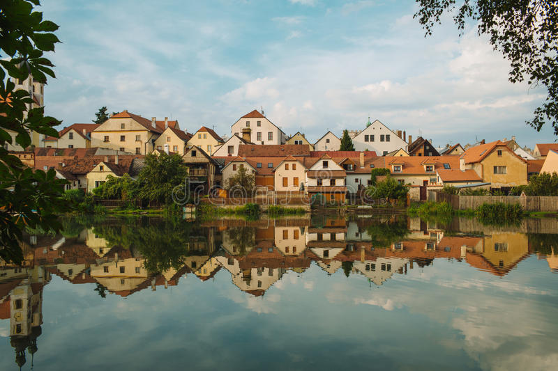 The Litice Village houses on the bank Czech Valley Reservoir. Suburban district of a Pilsen City. Czech Republic, Europe royalty free stock images
