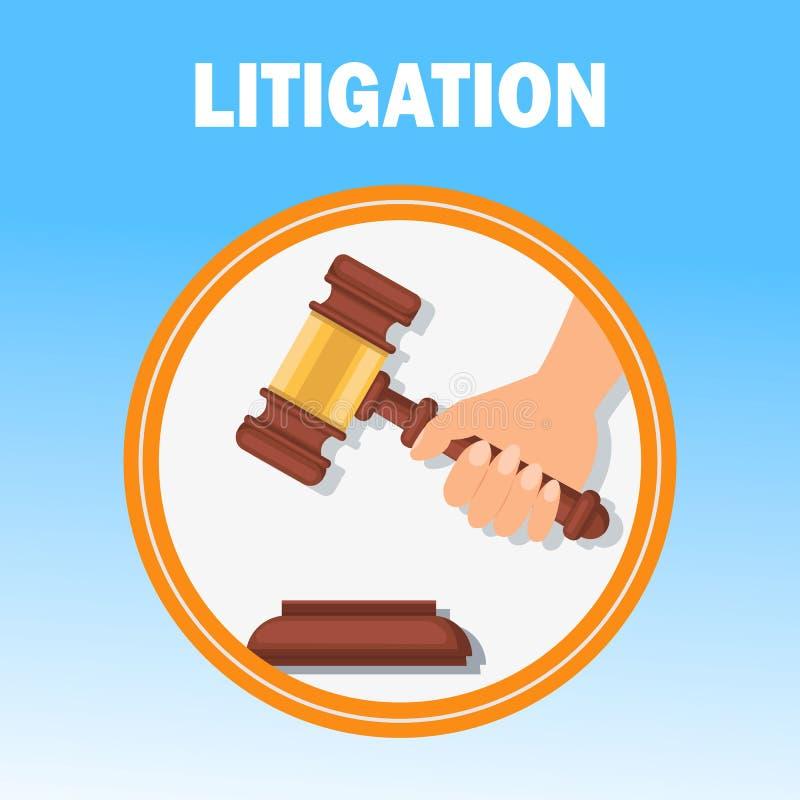Litigation Court Procedure Flat Banner Template. Hand Holding Wooden Gavel Isolated Illustration. Judge Ceremonial Hammer. Reaching Verdict, Final Decision royalty free illustration