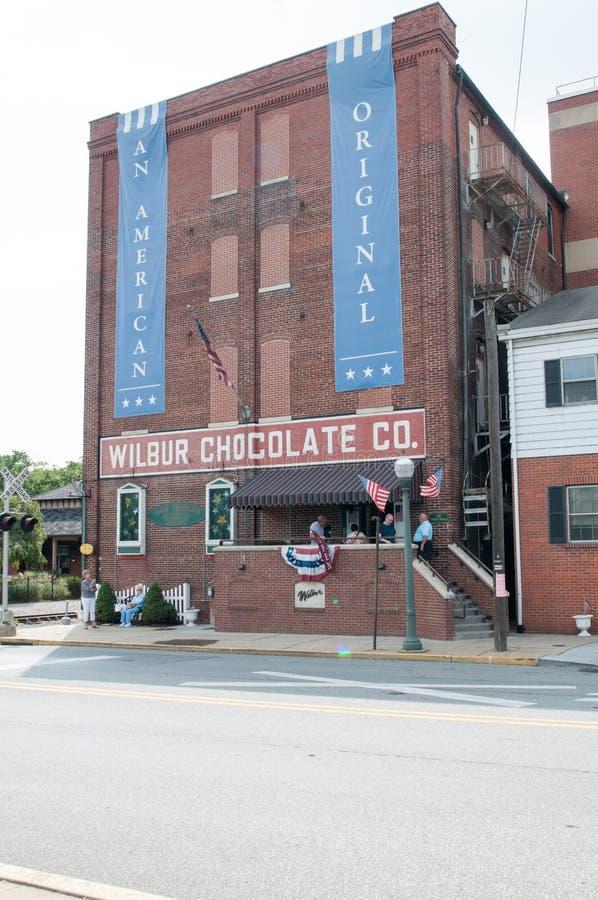 LITITZ PA - AUGUSTI 30: Den berömda Wilbur Chocolate Company förlägger högkvarter på rutt 501 i Lititz på Augusti 30, 2014 royaltyfria foton