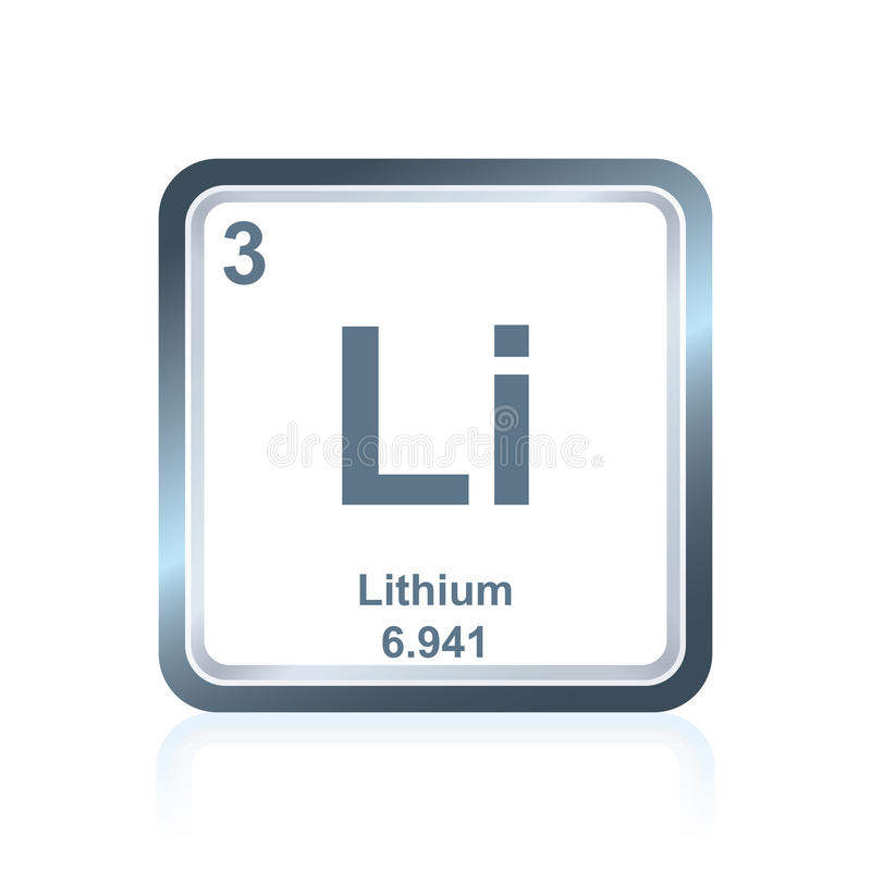 Litium för kemisk beståndsdel från den periodiska tabellen vektor illustrationer