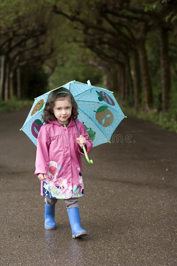 A litle girl with a blue umbrella. A little girl with a blue umbrella and a pink raincoat walks through a park on a rainy day stock image