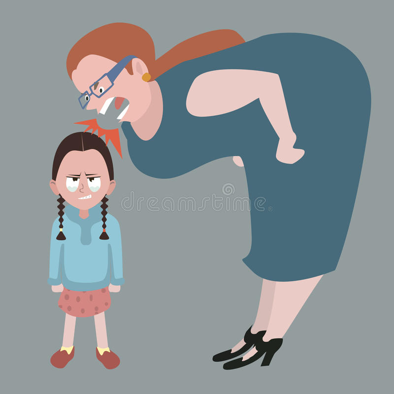 Litle girl holding back tears while woman yelling at her vector illustration