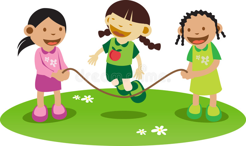 Litle girls Playing royalty free illustration