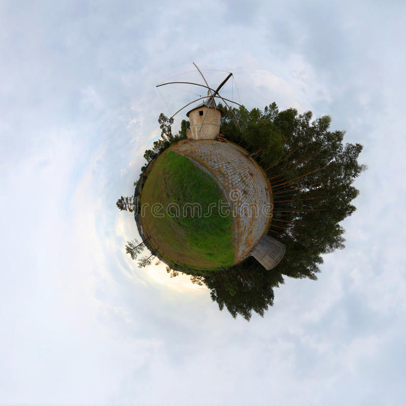 Litle planet. Florest with mill stock image