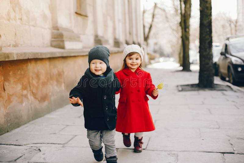 Litlle kids in a park royalty free stock photo