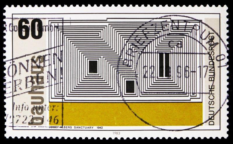 Litografía del 'santuario 'de Josef Albers, Walter Gropius, fundador de la escuela del Bauhaus del arte, serie de Weimar, circa 1 fotos de archivo