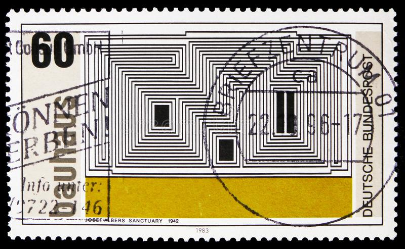 """Litografia """"del santuario """"da Josef Albers, Walter Gropius, fondatore della scuola di Bauhaus di arte, serie di Weimar, circa 198 fotografie stock"""