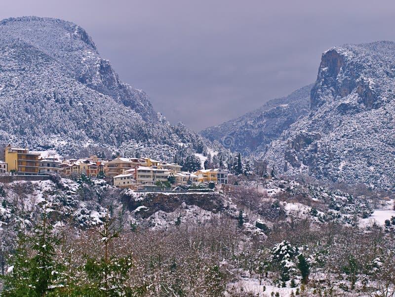 Litohoro, Pieria / Greece - 05 January 2009: View to snow covered Olympus mountains, winter landscape royalty free stock photos