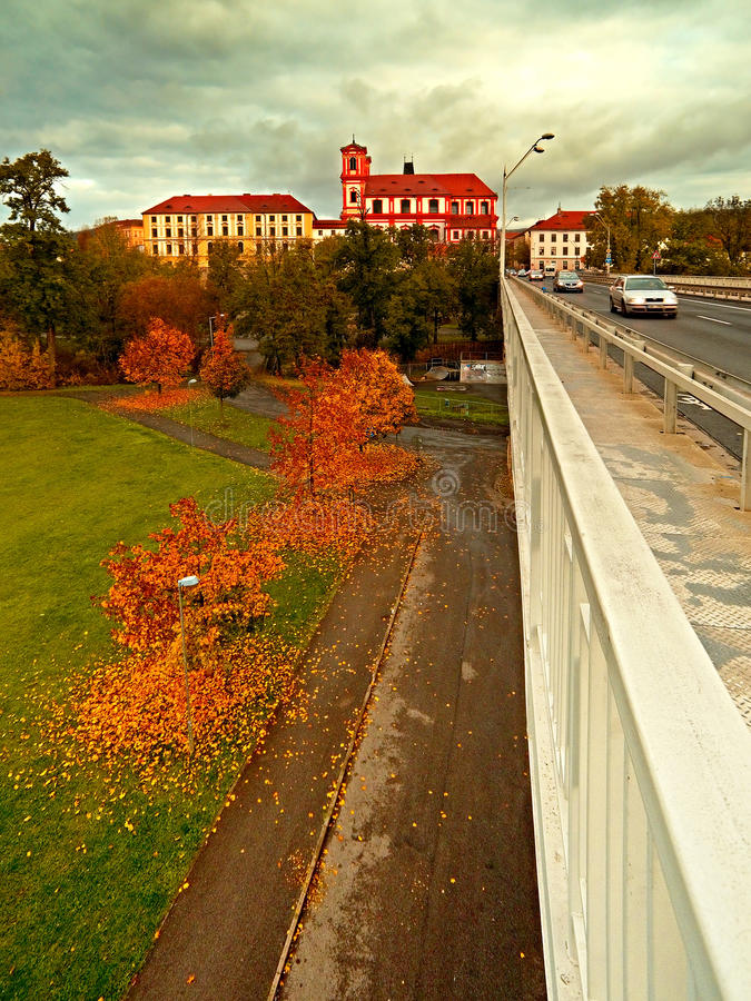 Litomerice city, Czech rebublic - october 29, 2016: detail of autumnal city park when viewed from the bridge Tyrsuv most after rec. Onstruction stock photography