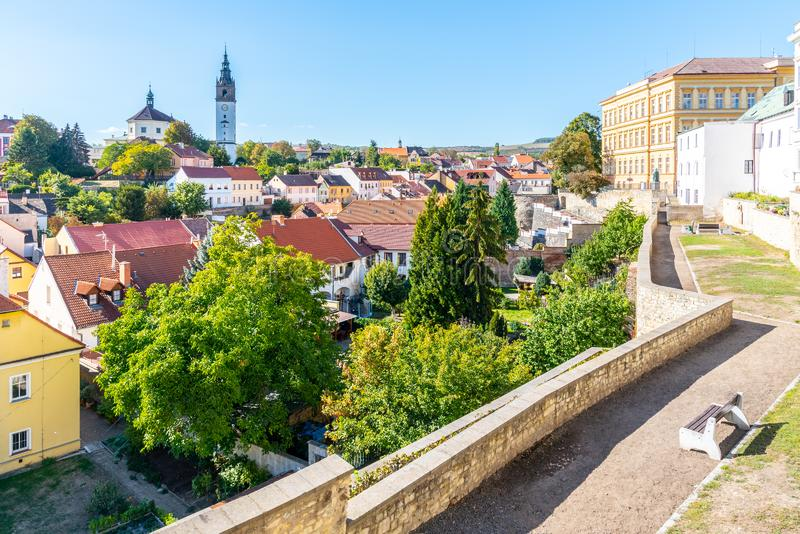 Litomerice cityscape with baroque St. Stephen`s Cathedral and bell tower, Litomerice, Czech Republic. View from stock image