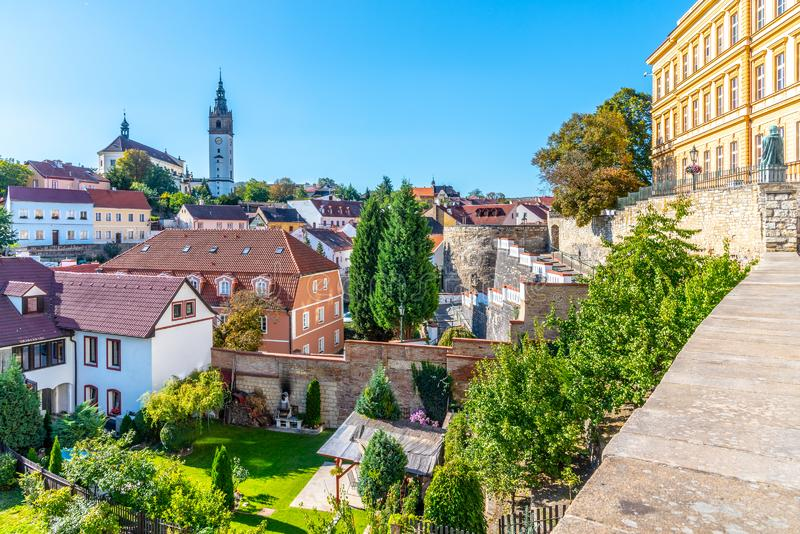 Litomerice cityscape with baroque St. Stephen`s Cathedral and bell tower, Litomerice, Czech Republic. View from stock images