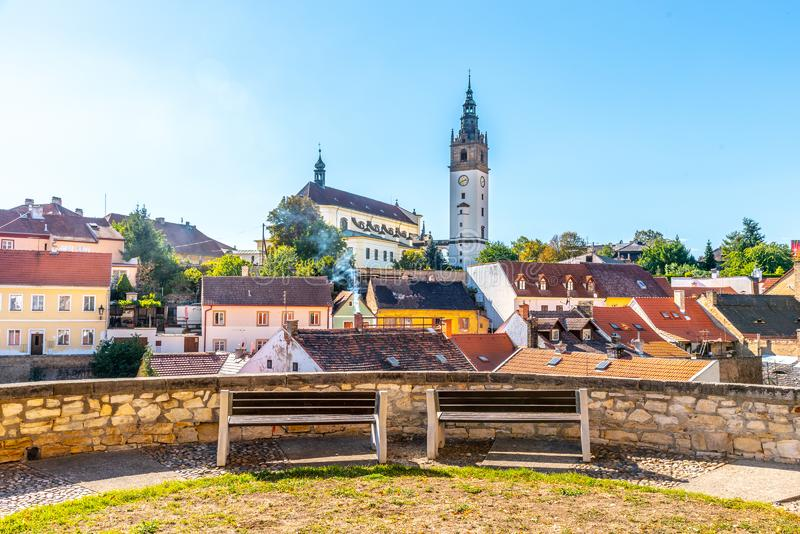 Litomerice cityscape with baroque St. Stephen`s Cathedral and bell tower, Litomerice, Czech Republic. View from royalty free stock photo