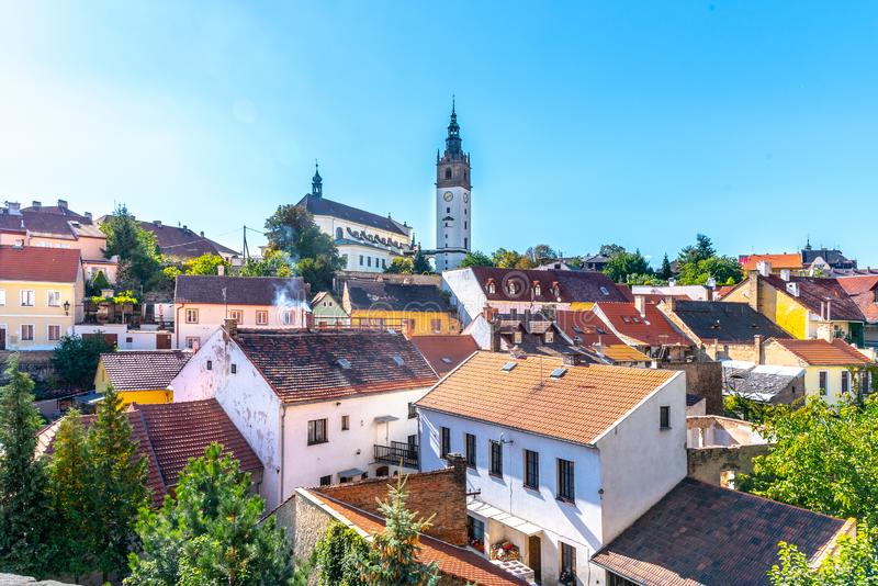 Litomerice cityscape with baroque St. Stephen`s Cathedral and bell tower, Litomerice, Czech Republic. View from royalty free stock photography