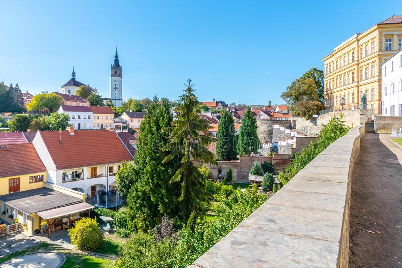 Litomerice cityscape with baroque St. Stephen`s Cathedral and bell tower, Litomerice, Czech Republic. View from stock photo