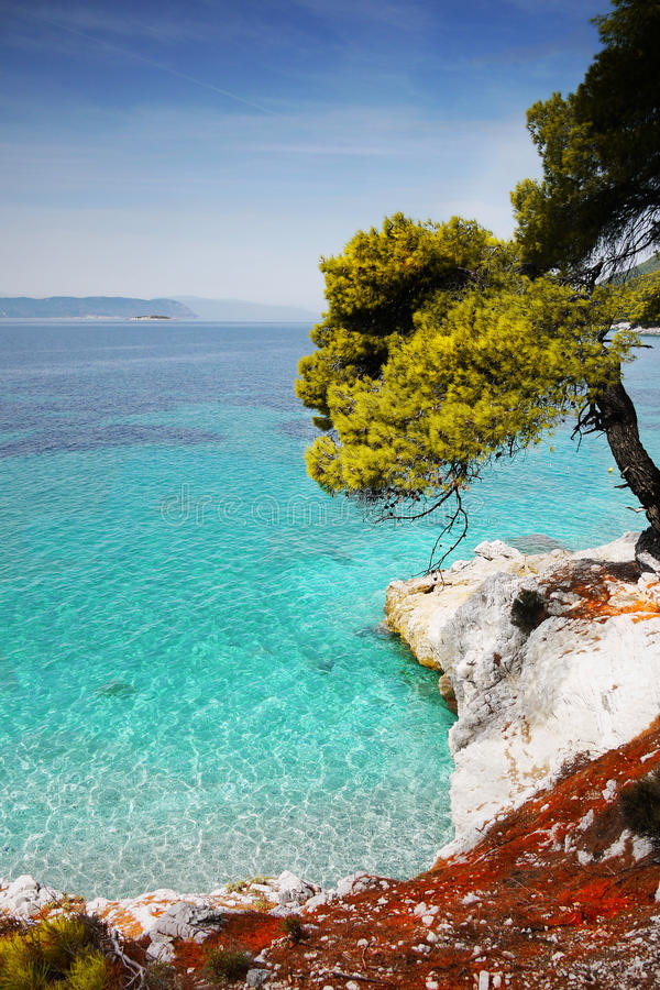 Litoral Azure Sea Vacation Skopelos Greece foto de stock