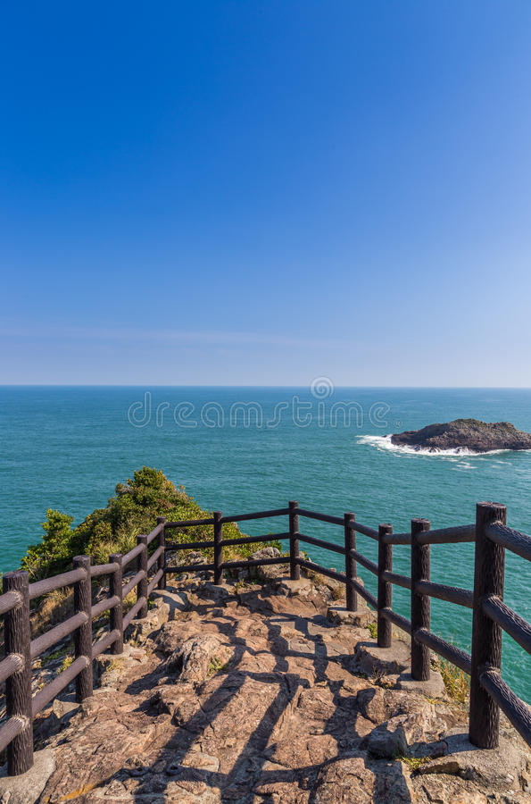 Litoral bonito do cabo de Hyuga em Miyazaki, Kyushu imagens de stock