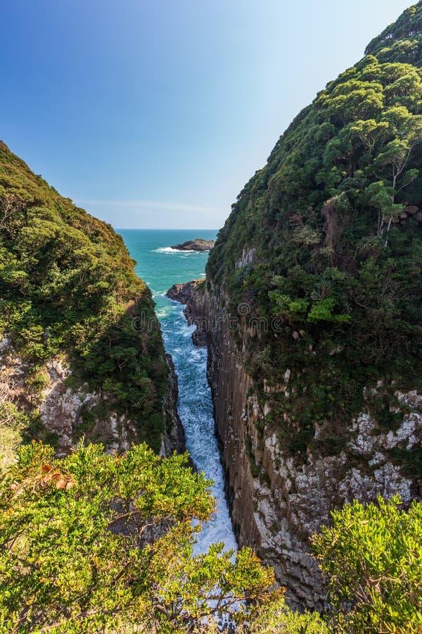 Litoral bonito do cabo de Hyuga em Miyazaki, Kyushu imagem de stock royalty free
