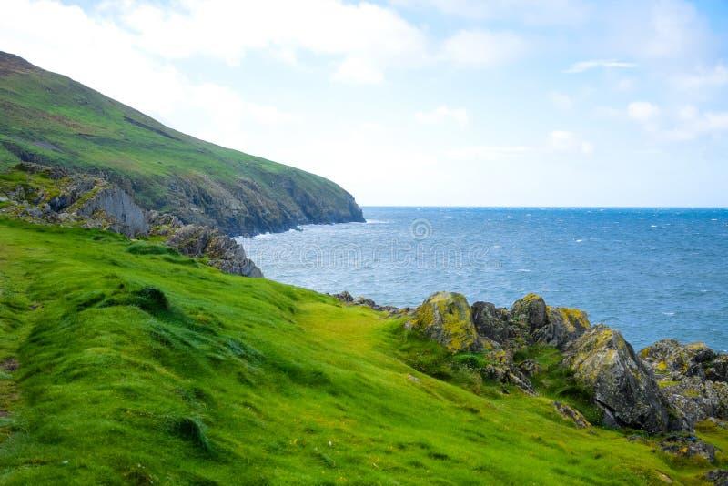 Litoral com grama verde em Douglas, ilha do homem fotografia de stock royalty free