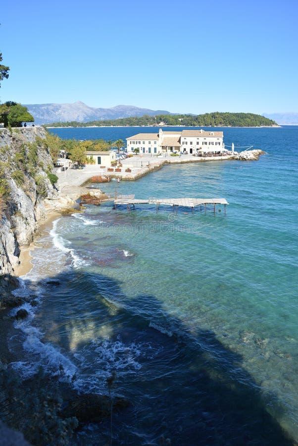 Litoral da cidade de Corfu imagem de stock royalty free