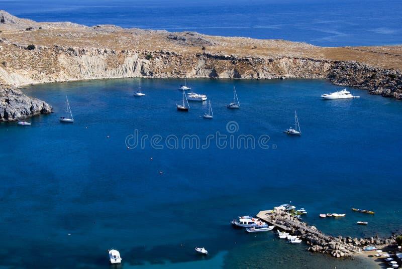 Litoral de Lindos - Greece imagens de stock royalty free