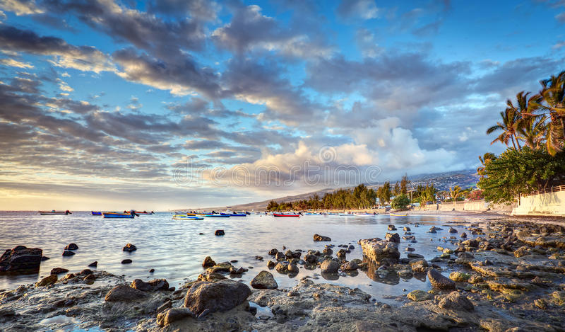 Litoral de Reunion Island imagens de stock