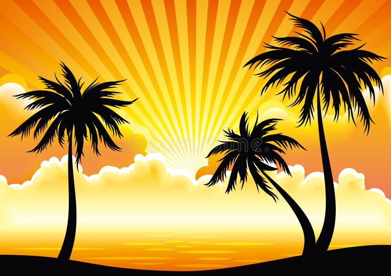 Litoral do por do sol do vetor ilustração stock