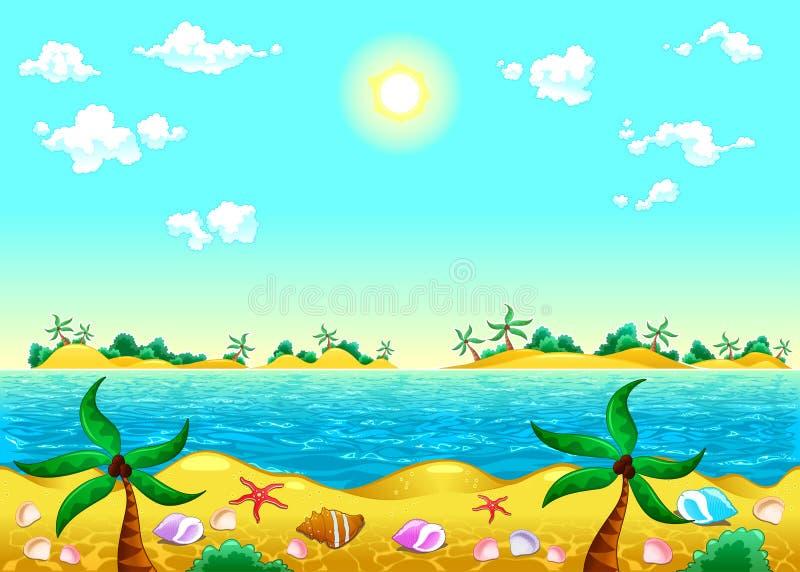 Litoral e oceano. ilustração royalty free