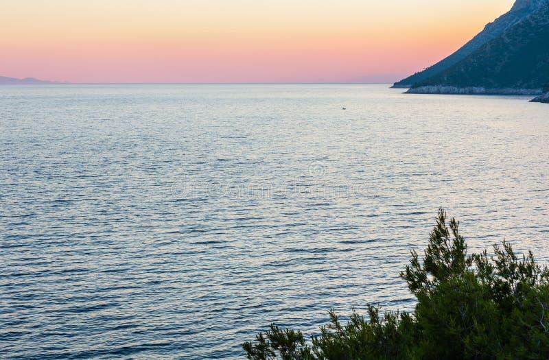 Litoral Ston do por do sol do verão, Croácia fotos de stock royalty free