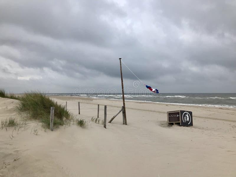 litoral vazio em um Mar do Norte holandês em um dia tormentoso, ventoso, cinzento bandeira que acena no mastro de bandeira imagens de stock
