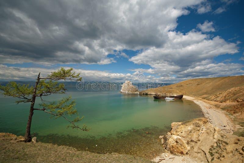 Litorale del lago Baikal fotografia stock