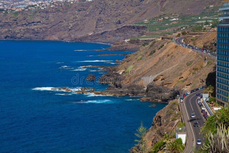 Litorale dell'oceano a Puerto de la Cruz, Tenerife, Spagna fotografia stock libera da diritti