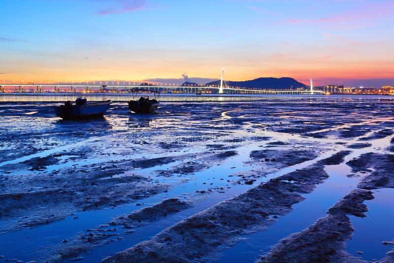 Litorale di tramonto fotografia stock