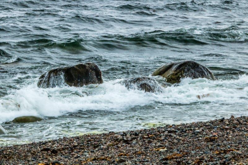 Litorali rocciosi dal bordo della strada, Gros Morne National Park, Ne fotografia stock