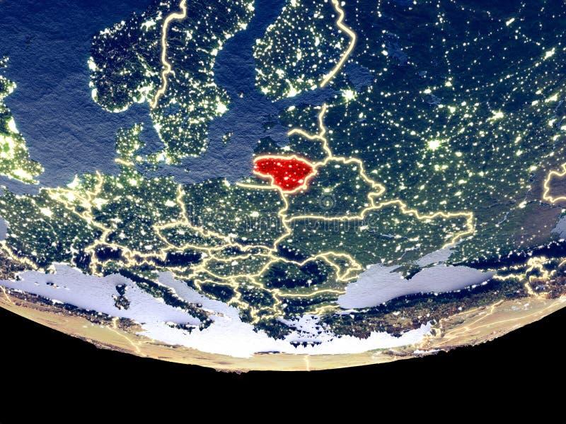Litouwen bij nacht van ruimte stock fotografie