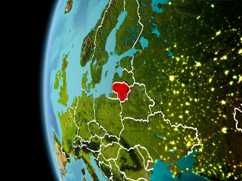 Litouwen van ruimte in avond stock afbeeldingen