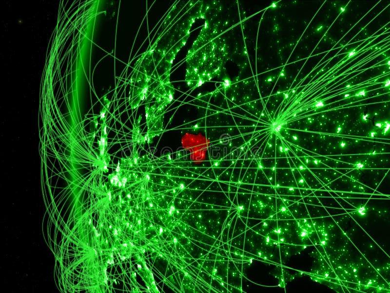 Litouwen van ruimte op groen model van Aarde met internationale netwerken Concept groene mededeling of reis 3d royalty-vrije stock foto's