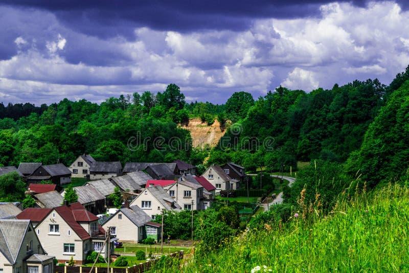 Litouws dorp stock afbeeldingen