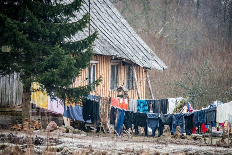 Litouws plattelandsdorp royalty-vrije stock afbeeldingen