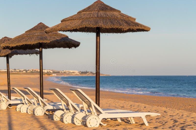 Lits et parapluies de Sun aux touristes image stock
