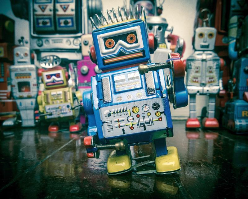 A team of vintage robots royalty free stock image