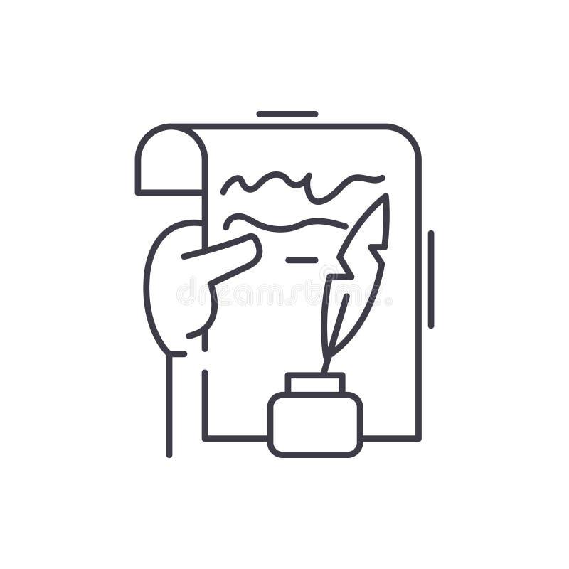 Litterär kreativitetlinje symbolsbegrepp Linjär illustration för litterär kreativitetvektor, symbol, tecken stock illustrationer