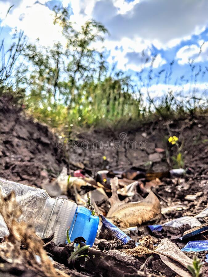 Litter and rubbish in the countryside stock image