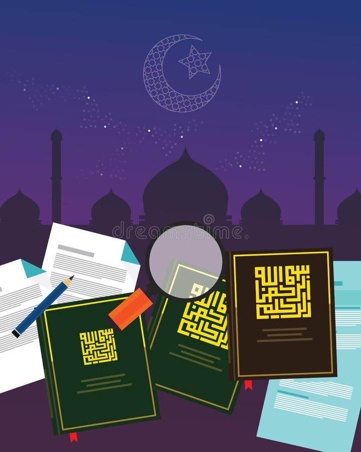 Litteratur för religionen för islam för studien för rättsvetenskap för Fiqh fiqih bokar islamisk Sharia gudomlig lag royaltyfri illustrationer