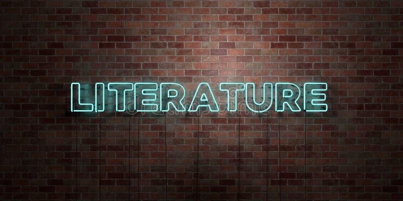 LITTERATUR - fluorescerande tecken för neonrör på murverk - främre sikt - 3D framförd fri materielbild för royalty stock illustrationer