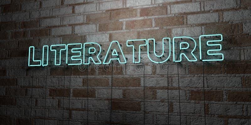 LITTERATUR - Glödande neontecken på stenhuggeriarbeteväggen - 3D framförde den fria materielillustrationen för royalty vektor illustrationer