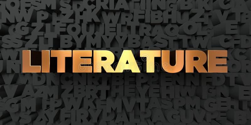 Litteratur - guld- text på svart bakgrund - 3D framförd fri materielbild för royalty royaltyfri illustrationer