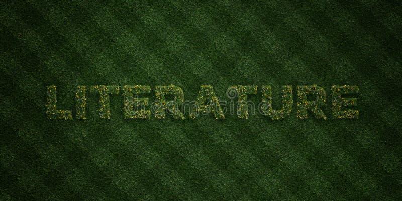 LITTERATUR - nya gräsbokstäver med blommor och maskrosor - 3D framförd fri materielbild för royalty stock illustrationer