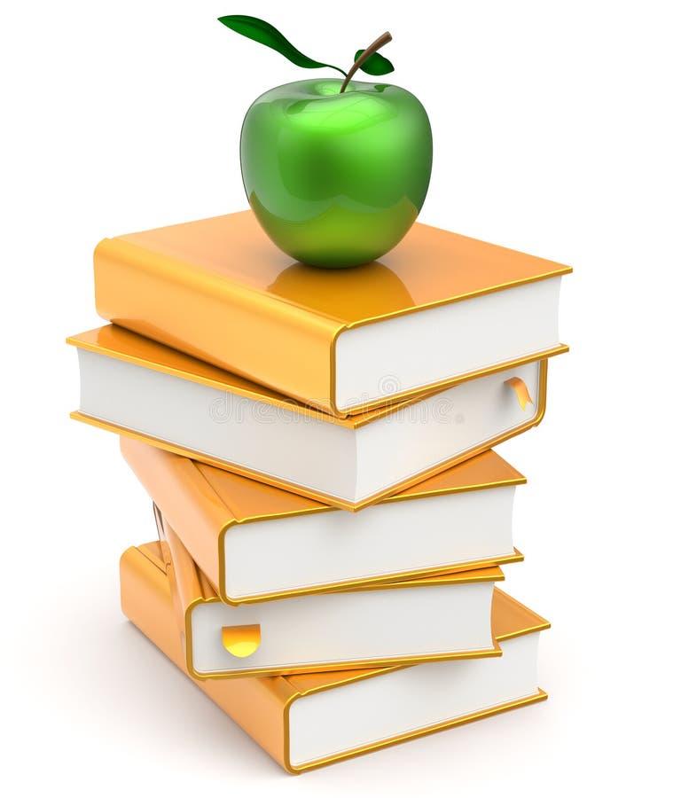 Litteratur och äpple för lärobokbokbunt gul studerande royaltyfri illustrationer