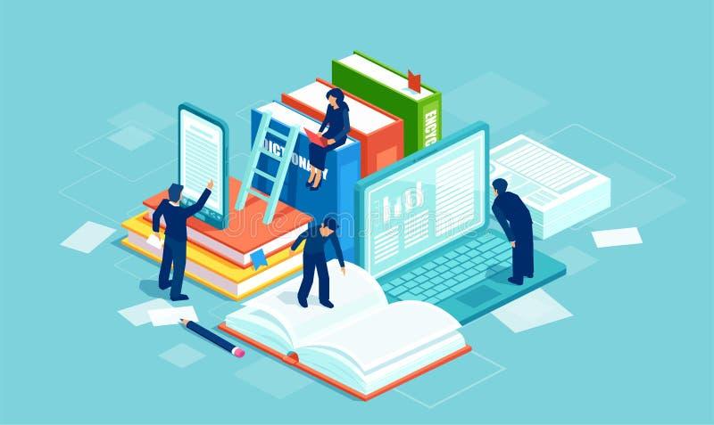 Litteratur och digital kultur Vektor av folkläseböcker genom att använda modern teknologi royaltyfri illustrationer